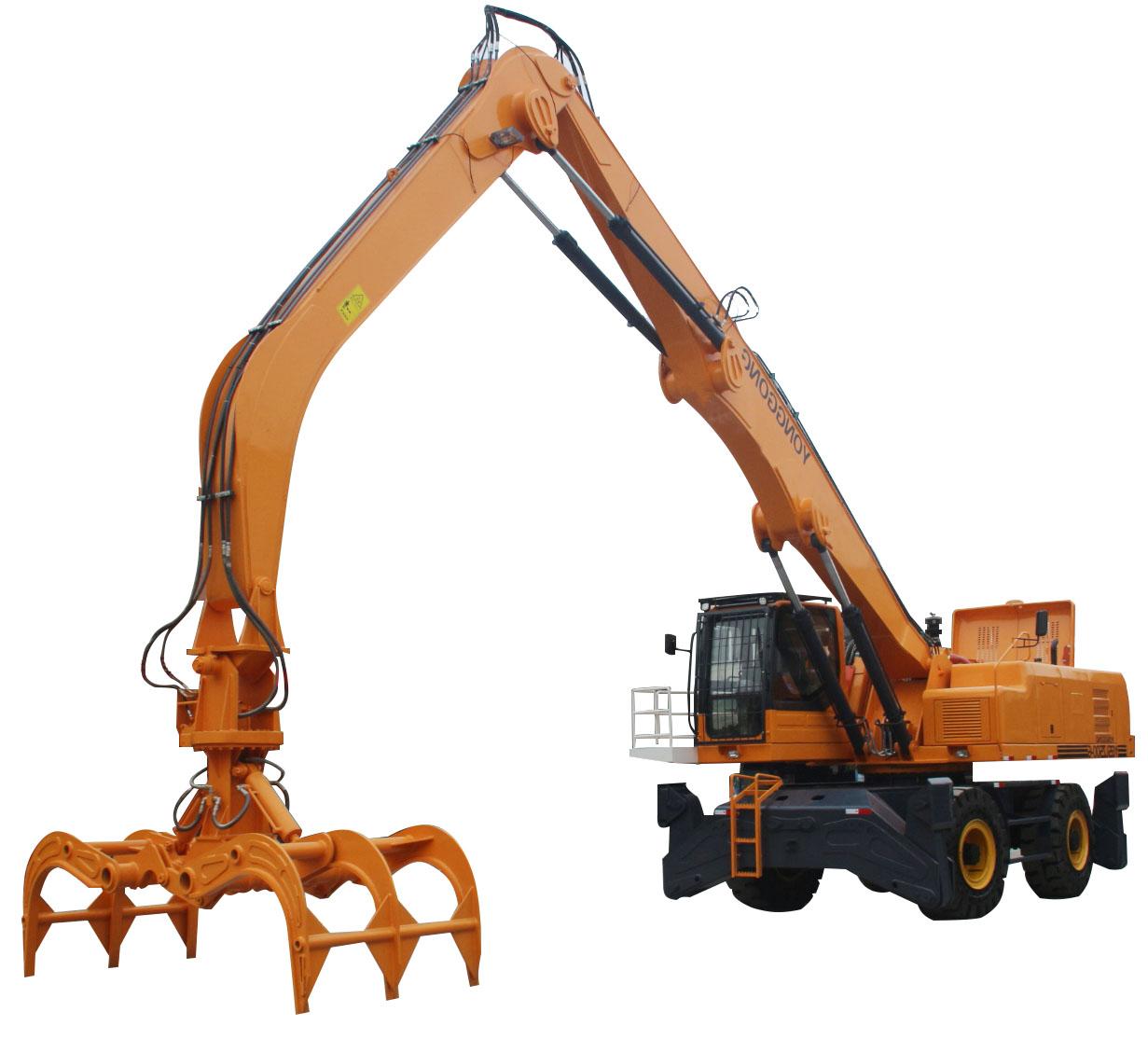 轮式双动力抓木机